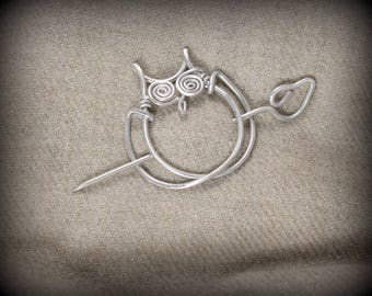 Owl Shawl Pin, Sweater, Cape, Wrap, Brooch, Silver, Aluminum, Animal, Fastener, Button, Clasp, SP25