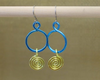Anodized Aluminum Earrings in Turquoise and Lime Green  - Can be Made In All Silver or Your Choice of Colors