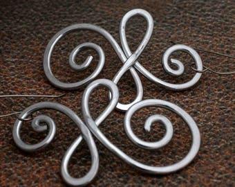 Long Silver Earrings, Big Silver Earrings, 3 Inch Silver Earrings, E66