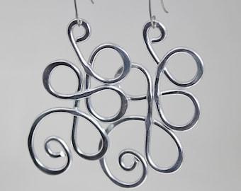 3 inch earrings, big earrings, long earrings, silver earrings, silver aluminum earrings, aluminum wire earrings, aluminum earring, E56