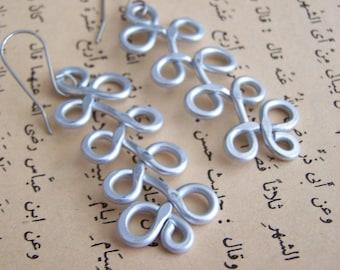 Long silver earrings, big comfortable earrings, big silver earrings, long silver aluminum earrings, silver aluminum earrings, E33