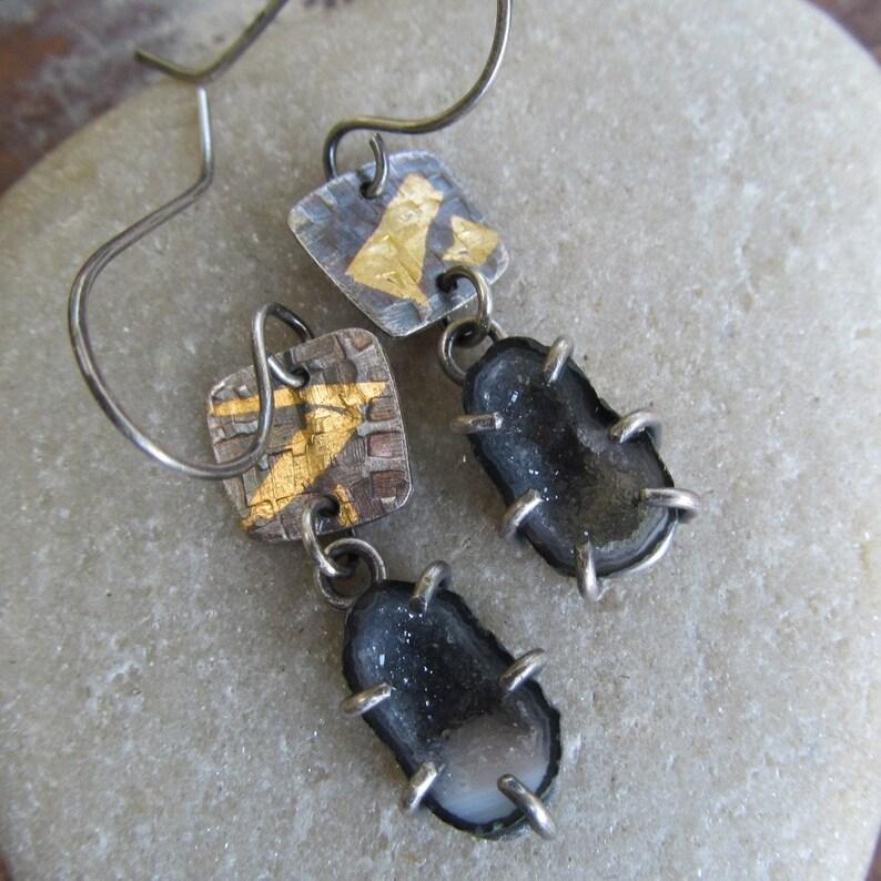 b1828fefc Gold Keum Boo Earrings Silver Geode Earrings Druzy Earrings | Etsy
