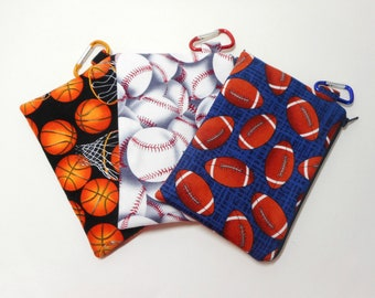 Sport Themed Coin Purses, Set of Three Sport Zipper Pouches, Basketball, Baseball, Footbal