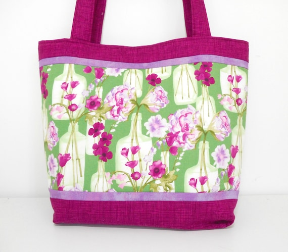 63ce93fe2ce Large Purple Tote Bag Large Floral Tote Bag with Pockets