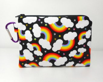 Rainbow Coin Purse, Carabiner Clip Change Purse, Black Clip on Zipper Pouch