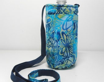 Water Bottle Purse, Blue Batik Water Bottle Sling