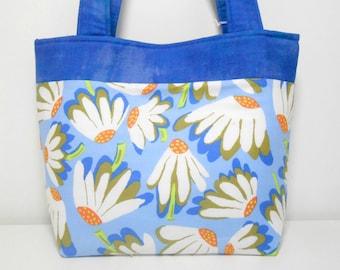 Blue Tote Bag, Coneflower Medium Purse, Tote with Pockets, Medium Blue Purse