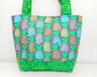 Pineapple Tote Bag, Medium Purse, Green Fabric Yoga Purse