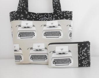 Black and Gray Typewriter Purse Set