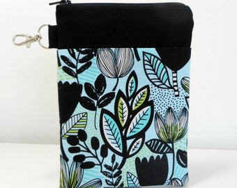 Aqua Floral Gadget Case, Zipper Phone Case with Lobster Clip,