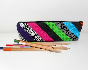 Quilted Pencil Case, Black Fabric Zip Pouch, Cosmetic Pouch with Zipper, Skinny Zipper Pouch