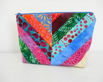 Quilted Cosmetic Bag, Batik Fabric Make Up Bag, Stand Up Style Cosmetic Pouch with Zipper