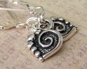Silver Spiral Heart Earrings Tierracast Charm Sterling Silver Ear Wires Tiny Earrings