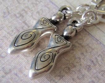 Silver Earrings Sterling Silver Ear Wires Tierracast Pewter Stylized Celtic Goddess Charm