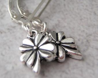 Silver Earrings Tierracast Four Leaf Clover Charm Sterling Silver Ear Wires Tiny Earrings