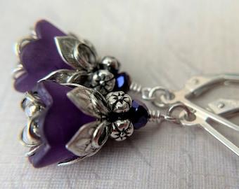 Purple Iris Flower Earrings Sterling Silver Ear Wire