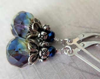 Blue Iris Earrings Sterling Silver Ear Wires 8x6mm Glass Dangle