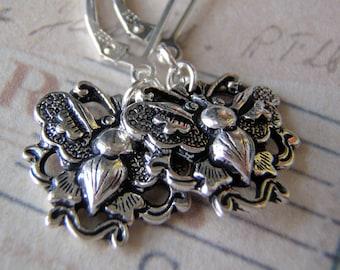 Silver Earrings Sterling Silver Ear Wires Tierracast Pewter Stylized Butterfly Charm