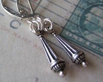 Silver Earrings Sterling Silver Ear Wires Stylized Roman Column Charm