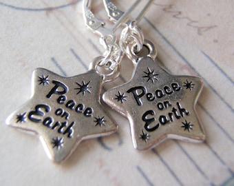 Silver Earrings Peace on Earth Charm Christmas earrings Sterling Silver Ear Wires