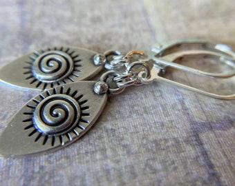 Silver Earrings Celtic Spiral Charm Sterling Silver Ear Wires Tiny Earrings