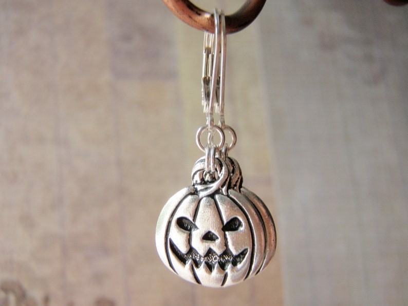 Silver Pumpkin Earrings Sterling Silver Filled Ear Wire image 0