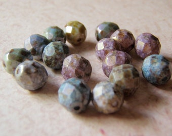 Faceted Czech Glass Beads  8mm Fancy Finish 16 Beads