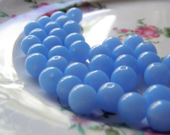 Periwinkle Blue Beads Opaque Round Druk Smooth Czech Glass 8mm 20 Beads