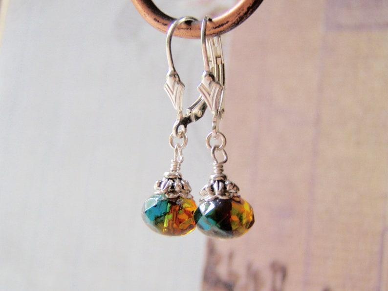 Firelight Minimal Earrings Sterling Silver Ear Wires 8x6 Glass image 0