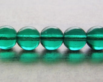 Teal Green Beads Smooth Round Druk 20 Beads