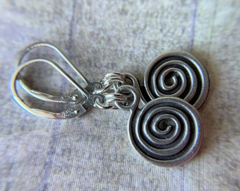 Silver Earrings Celtic Round Spiral Charm Sterling Silver Ear Wires Tiny Earrings