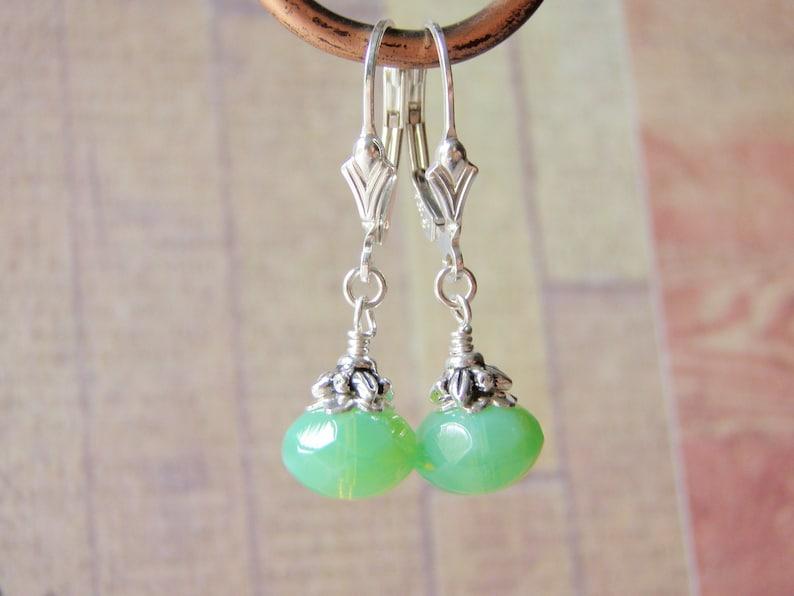 Jade Green Earrings Sterling Silver Ear Wires 8x6 Glass Dangle image 0