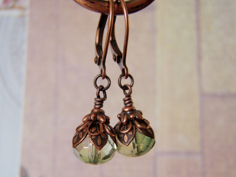 Mermaid Tears Earrings 9x6mm Green Glass Dangle Shorter Style image 0