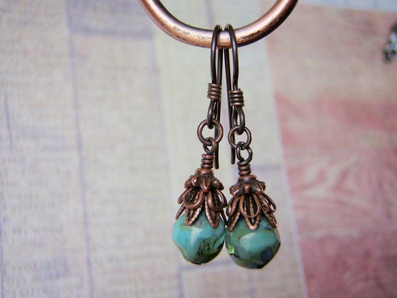 Sea Green Earrings 8mm Green Glass Dangle Hypoallergenic image 0