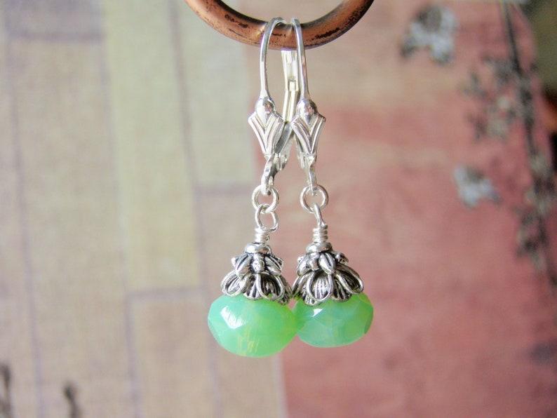 Jade Green Opal Earrings Sterling  Silver Ear Wire 8x6mm Glass image 0