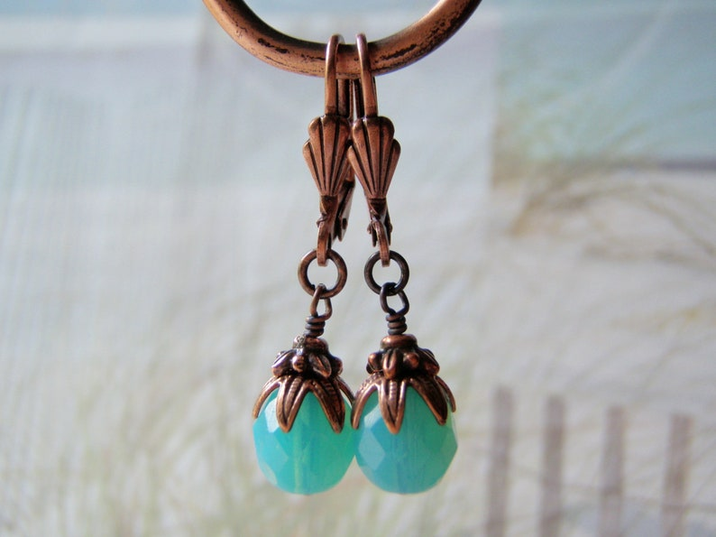 Caribbean Blue Opal Earrings 8mm Glass Dangle Antique Copper image 0
