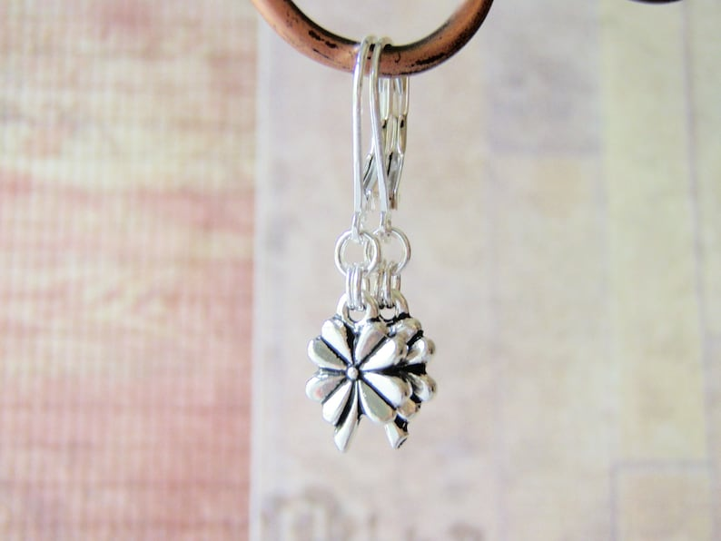 Silver Four Leaf Clover Earrings Tierracast Charm Sterling image 0
