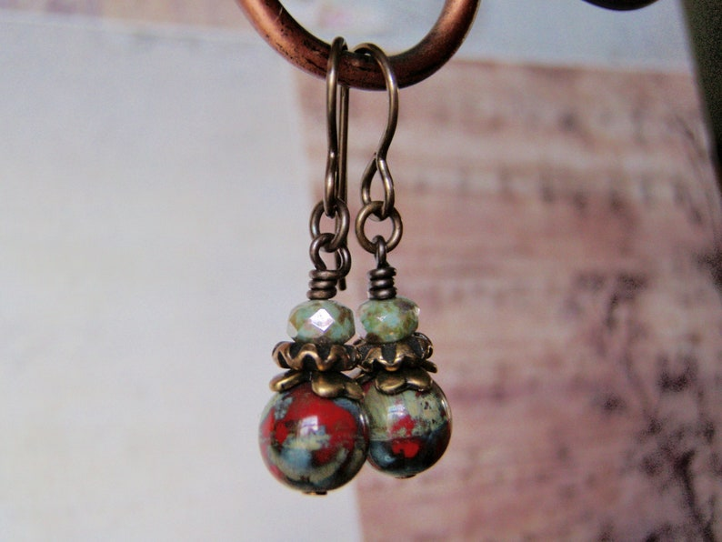 Red and Sage Green Earrings Vintaj Brass Ear Wire 8mm Dangle image 0