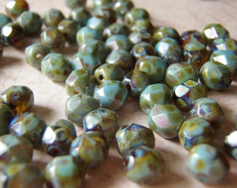 Sky Blue and Amber Faceted Czech Glass Beads 6mm Picasso Finish 20 Beads