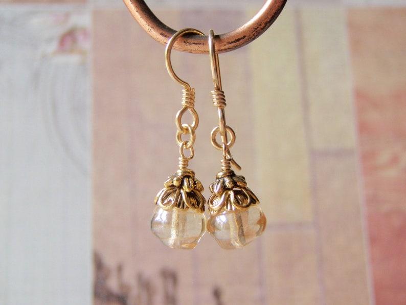 Celsian Gold Earrings 14k Gold Filled Ear Wire 8mm Glass image 0