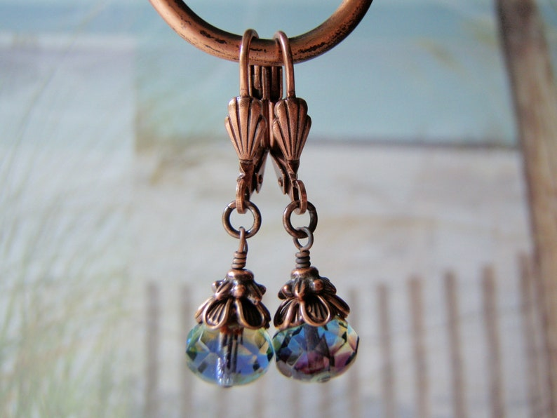 Amethyst Sapphire and Jonquil Earrings 8x6mm Glass Dangle image 0