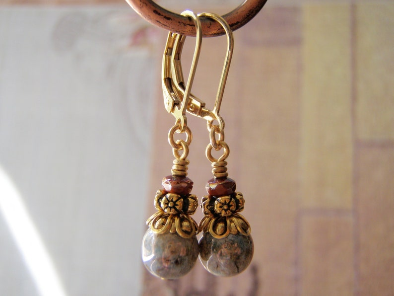 Olive Green and Terracotta Earrings 14k Gold Filled Ear Wires image 0