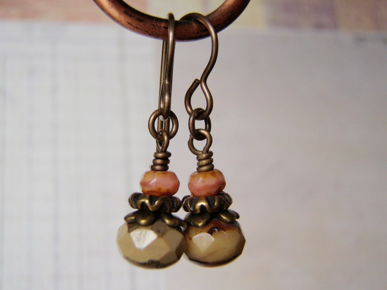 Cocoa and Coral Earrings Vintaj Brass Ear Wire 8x6mm Dangle image 0