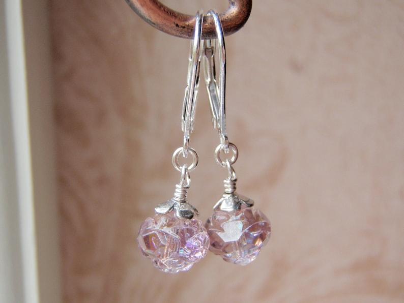 Sterling Silver Earrings 8mm Amethyst Glass Rosebud Dangle image 0