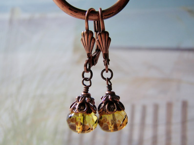 Olive Green and Topaz Earrings 9x6mm Glass Dangle Antique image 0