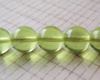 Peridot Green Beads Smooth Round Druk 20 Beads