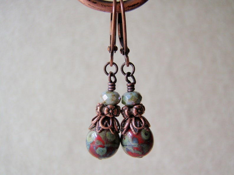 Red Picasso Earrings 8mm Glass Dangle Copper Finish Niobium or image 0