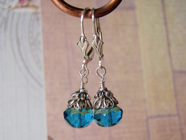 Capri Blue Earrings Sterling Silver Leverback Ear Wire 8x6mm image 0