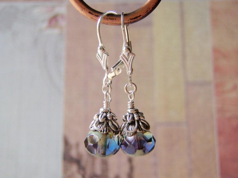 Purple Mix Earrings Sterling  Silver Ear Wire 8x6mm Glass image 0