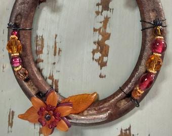 Beaded Horseshoe with Resin Flower